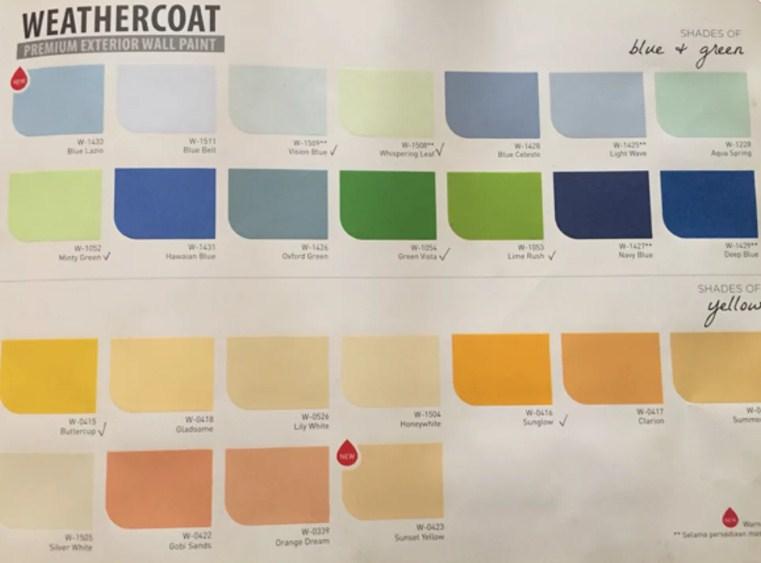 Katalog Warna Cat Mowilex Exterior Weathercoat
