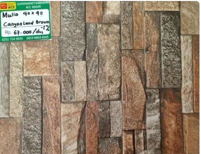 Motif Keramik Lantai 40x40 Merk Mulia Canyonland Brown