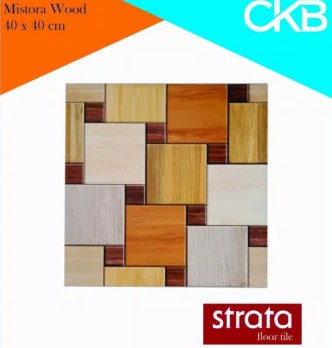 Motif Keramik Lantai 40x40 Merk Strata Mistora Wood